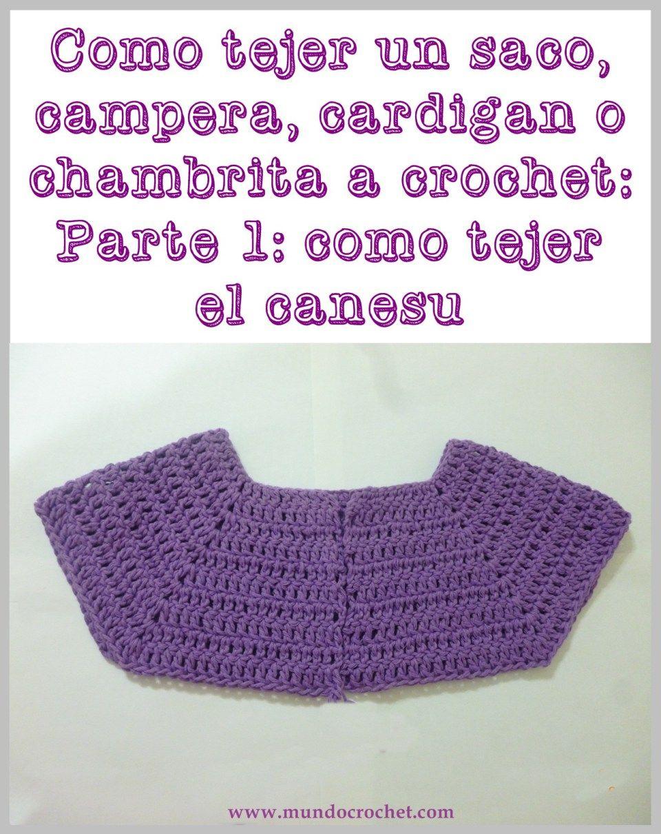Cómo tejer un saco, campera, cardigan o chambrita a crochet o ganchillo paso a paso: 1º Parte - Cómo tejer el canesú