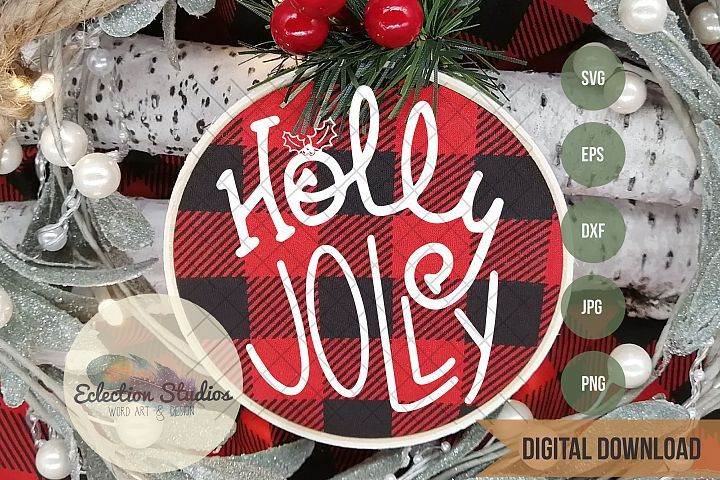 Holly Jolly Handlettered Doodle SVG Christmas svg, Holly