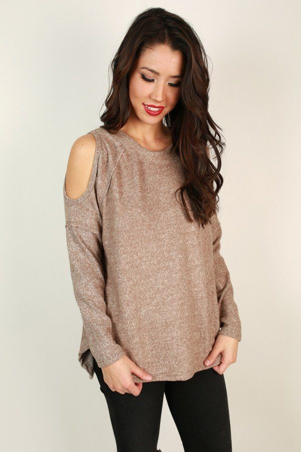 It Off Cold Shoulder Sweater in Warm Taupe