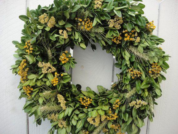 Photo of Dried Boxwood  Autumn Elegance  Natural Wreath  Fall Wreath  Dried Wreath  Door Wreath  Birthday Gift  Boxwood Wreath