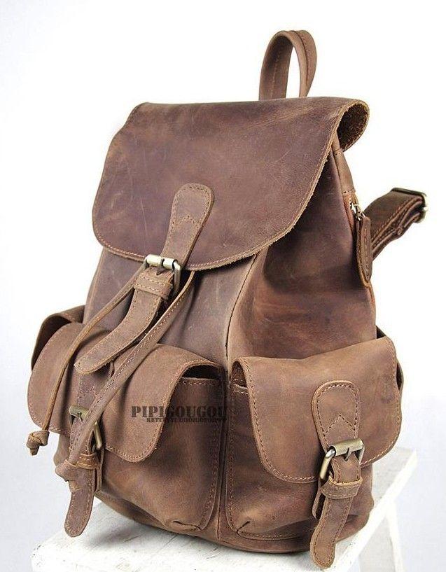 coffee Vintage leather backpack  17af70b822d2