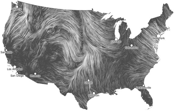 Visualization Of The Week The US Wind Map Animated Van Gogh - Us map patterns