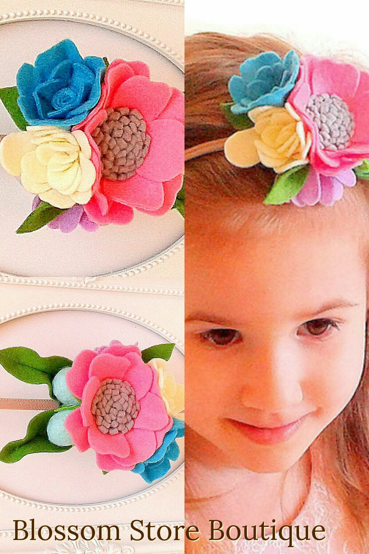 Baby girl pink ivory blue felt flower crown headband nylon Newborn toddler floral hairpiece Baby milestone Boho 1st birthday Cake smash
