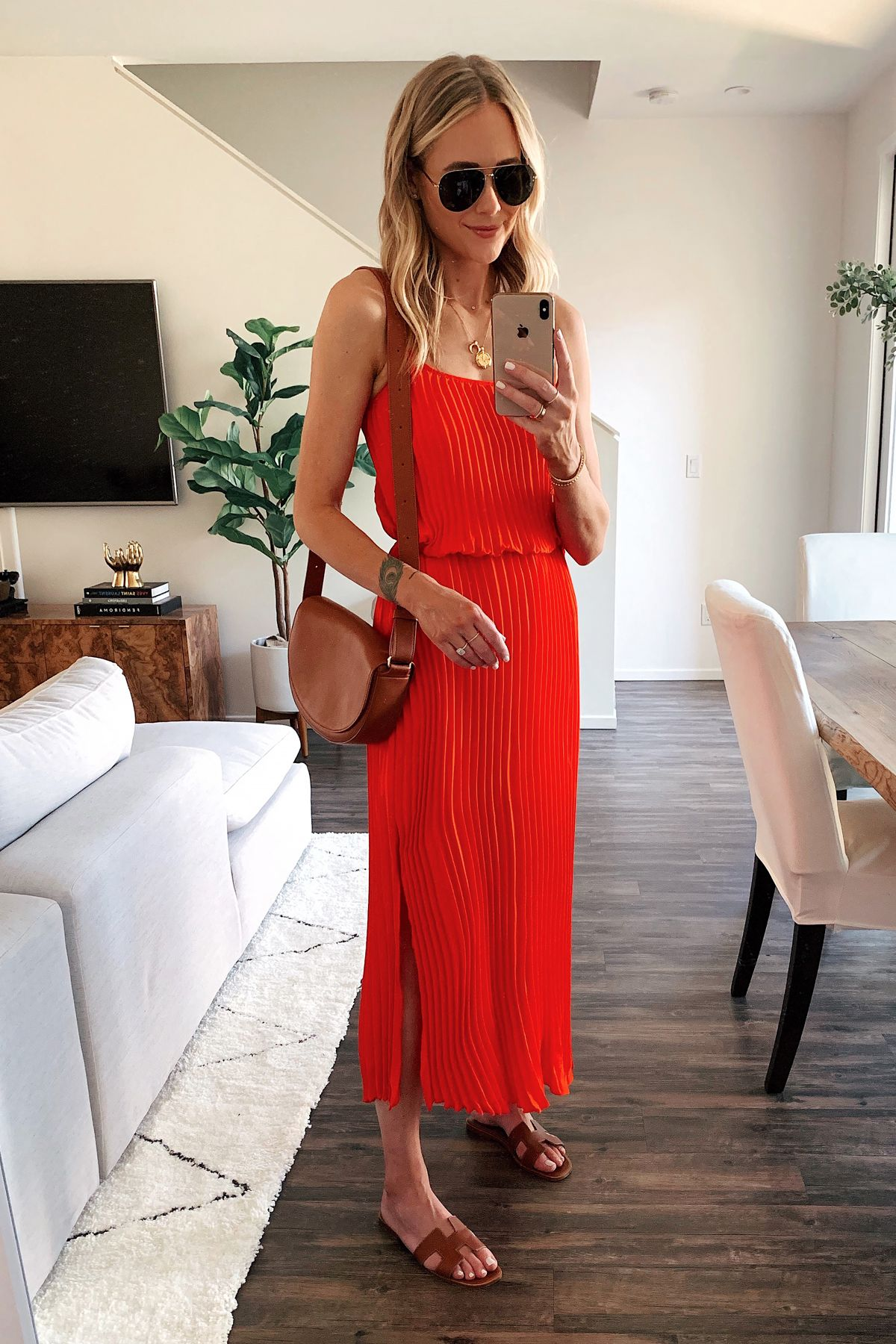 Fashion Jackson Wearing Red Pleated Maxi Dress Herems Gold Sandals Red Pleated Maxi Dress Red Summer Dresses Maxi Dress Outfit Summer [ 1800 x 1200 Pixel ]