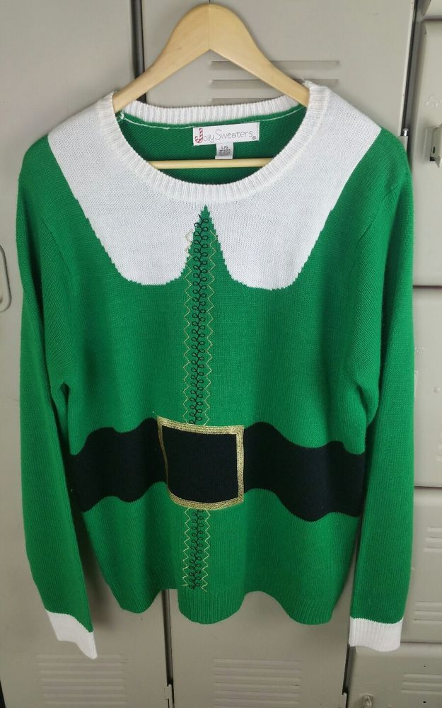 Buddy The Elf Ugly Christmas Sweater Green Elf Jolly Sweaters Size