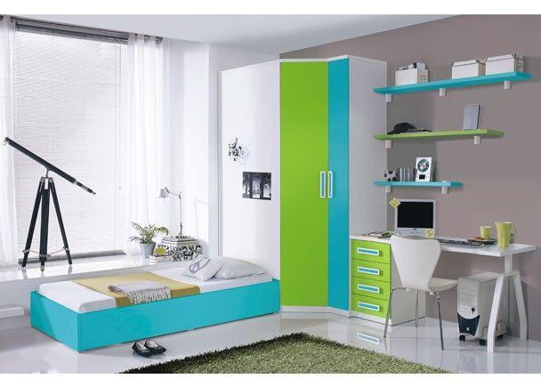 Dormitorio Juvenil con Armario chaflnrecto de 2p