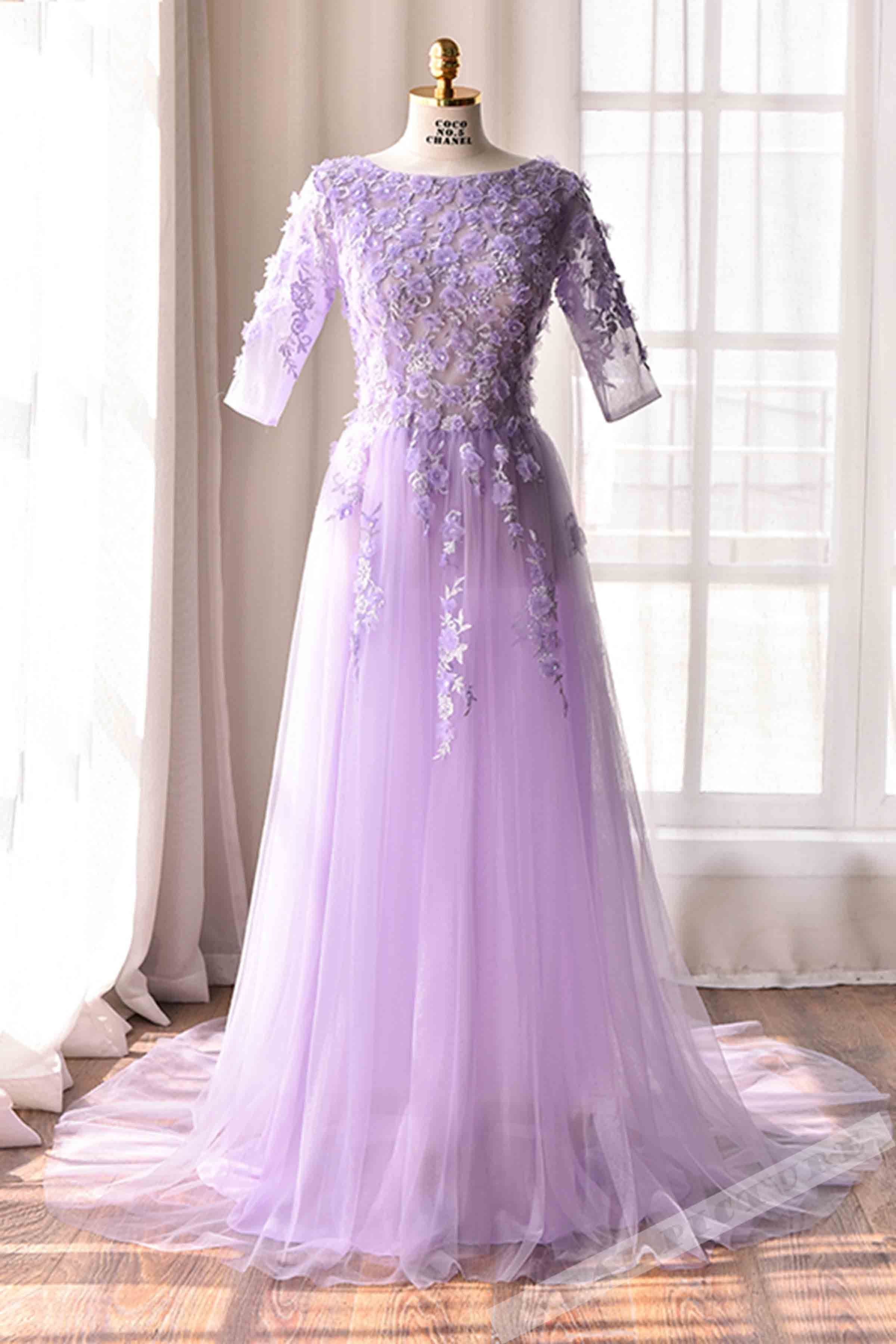 Lilac tulle lace applique seethrough half sleeves long dress from