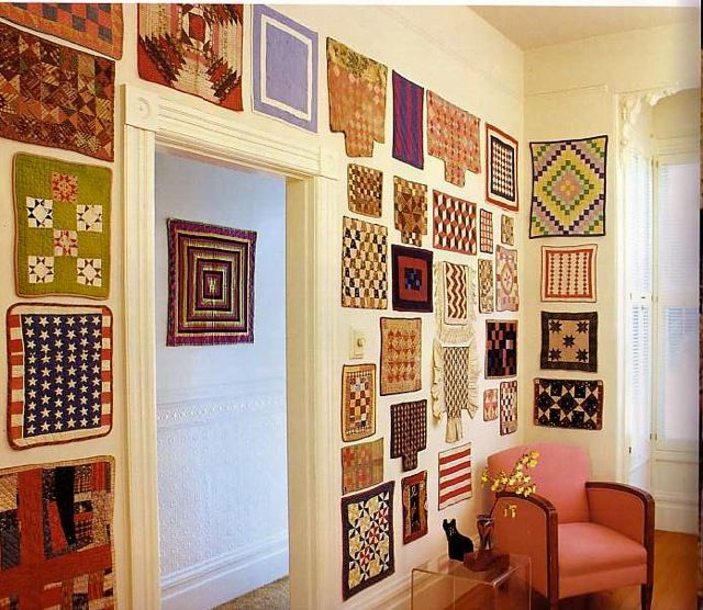 Living Room Quilts great idea for wall decor in a craft room, great reason to make