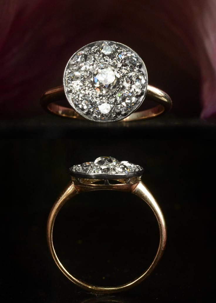 1900s Mine Cut Diamond Cluster Ring