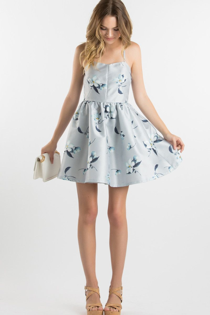 Guest of wedding dresses spring  Grey Floral Mini Dress Spring Wedding Dresses What to wear as a