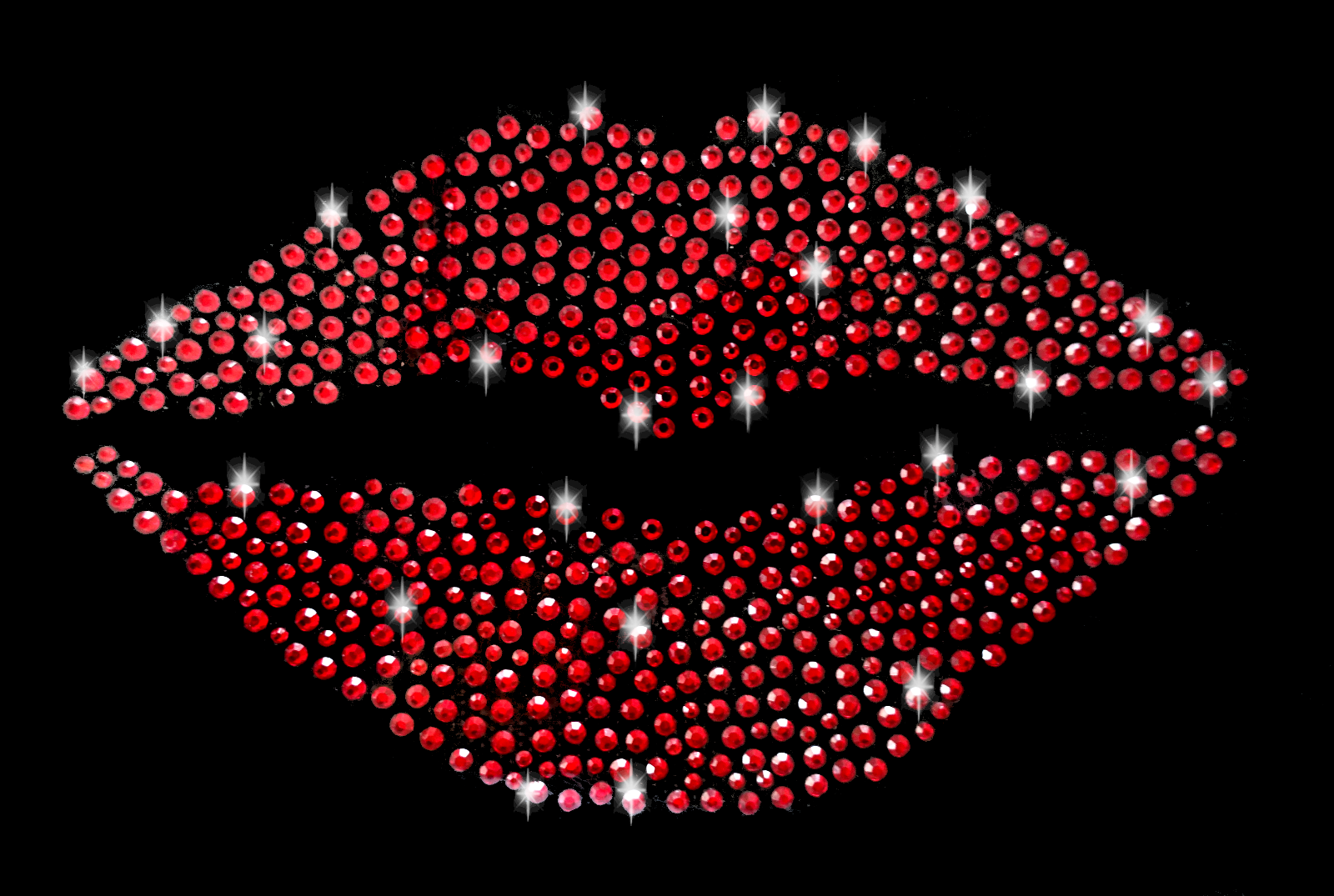 Eisen auf Patches für Bekleidung Red Pailletten Lippen DIY Motif Applikation ^