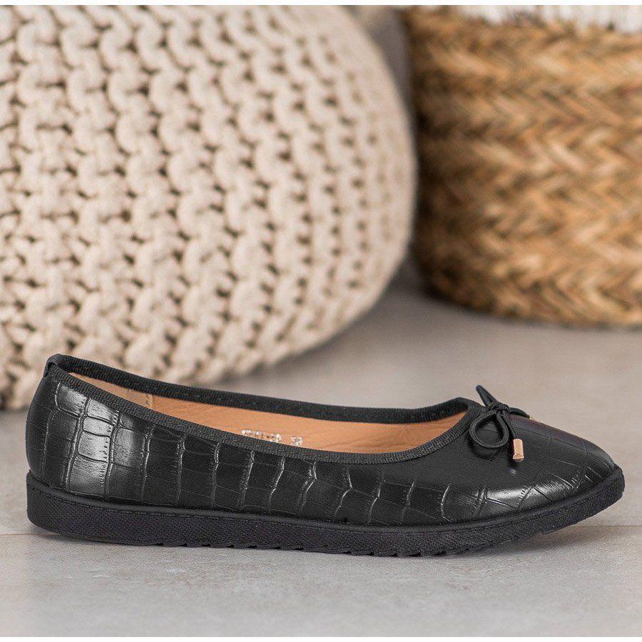 Shelovet Baleriny Z Eko Skory Czarne Platform Sneakers Shoes Sneakers