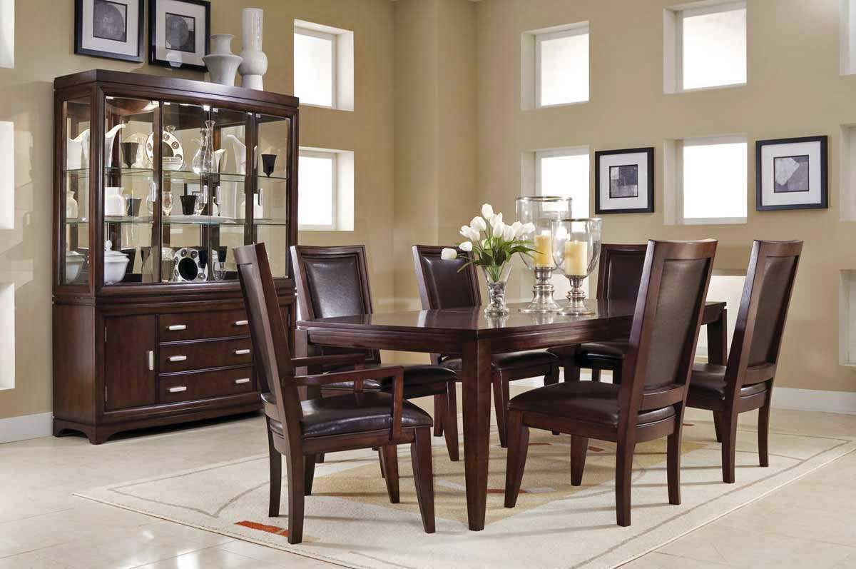 Simple Brown Wood How To Decorate A Dining Room Table With .
