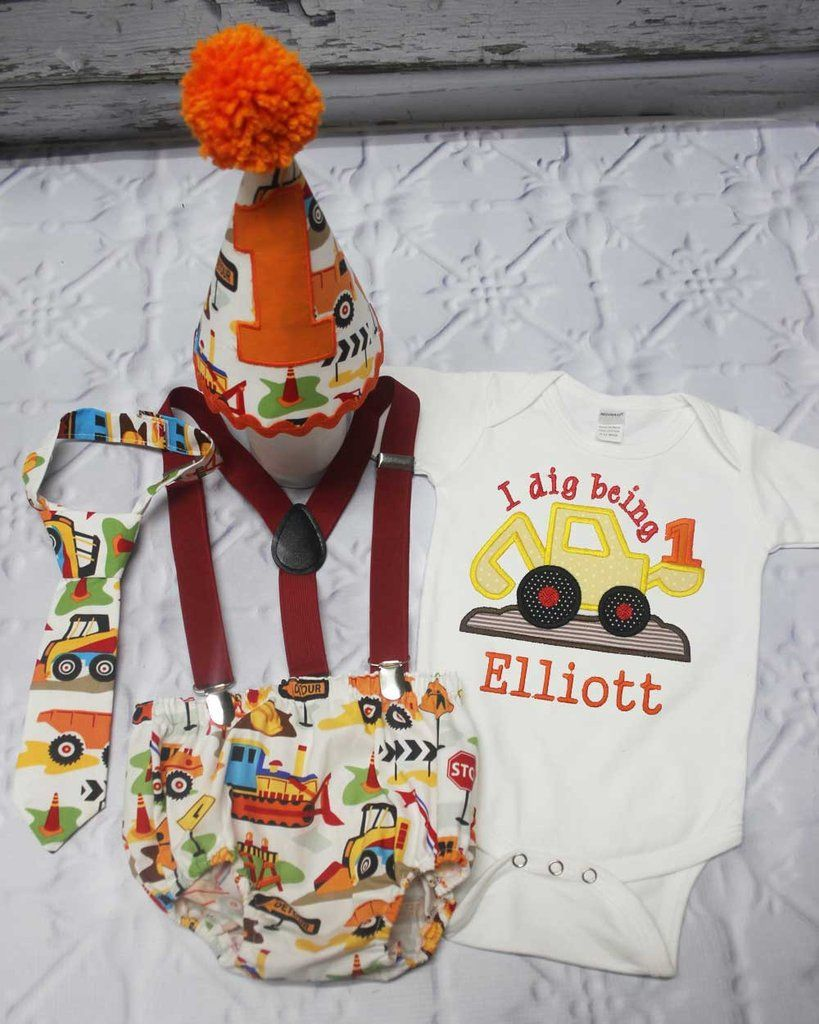 Boys Cake Smash Outfit,Construction Cake Smash Outfit Smash,Boys First Birthday Clothes,