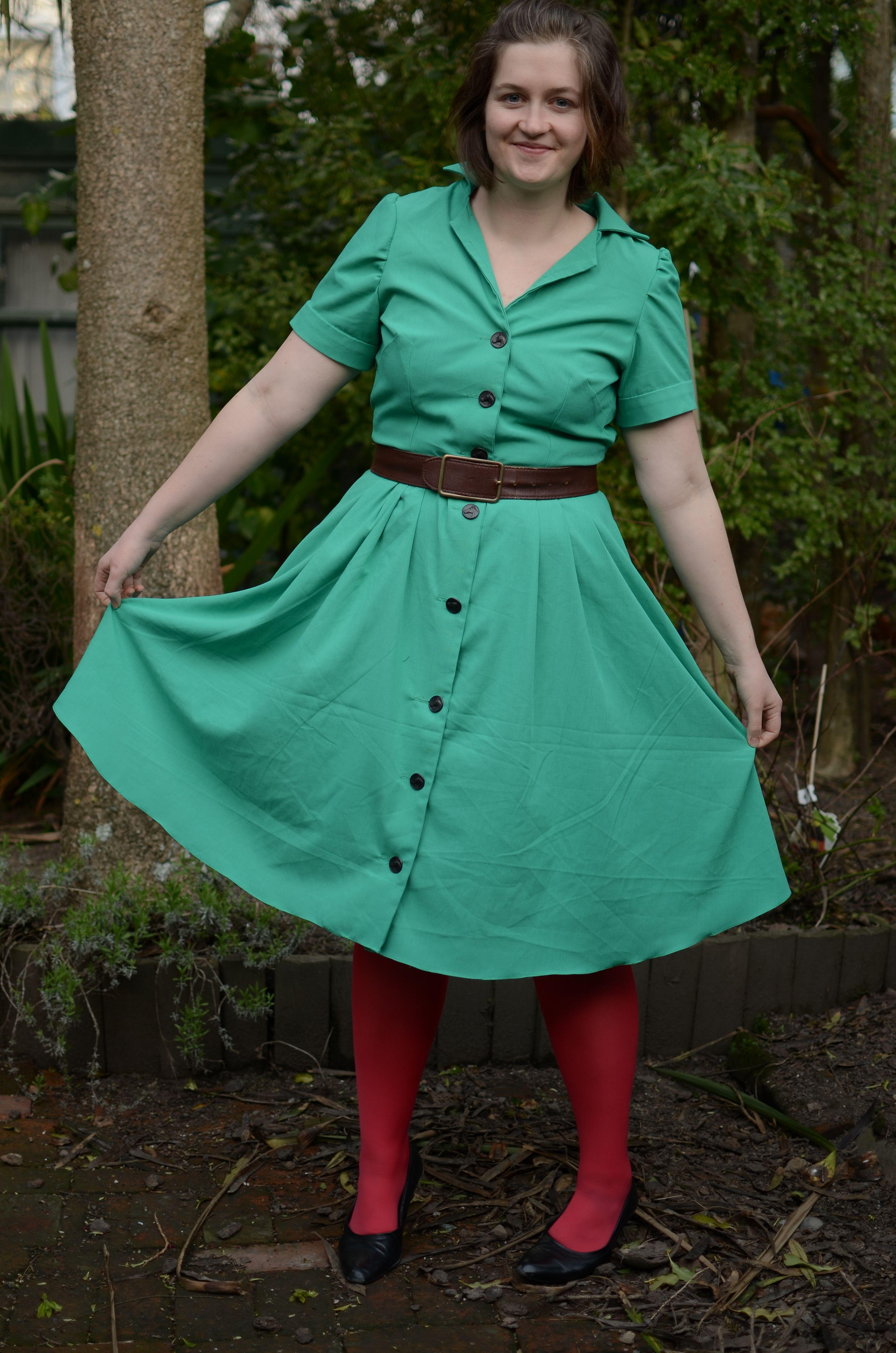 Gertie shirtwaist dress in Palomino green