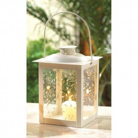 20 Large Ivory Glass Shabby Candle Lantern Chic Wedding Party