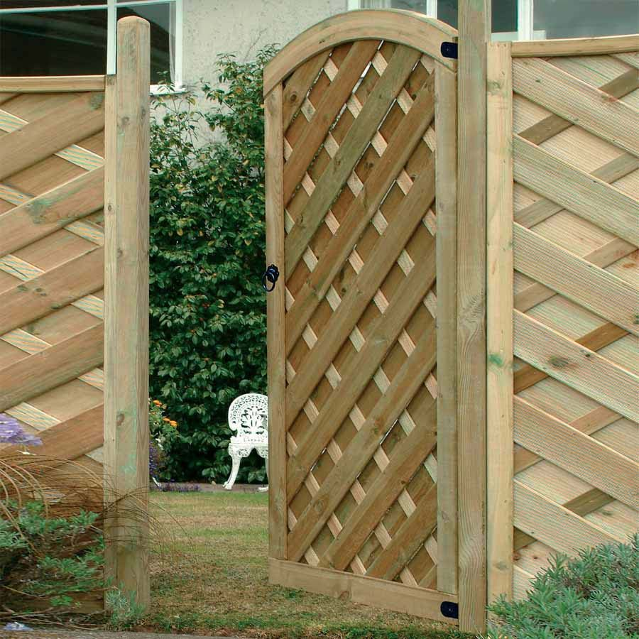 The Europa Dome decorative wooden garden gate with chevron boarding ...
