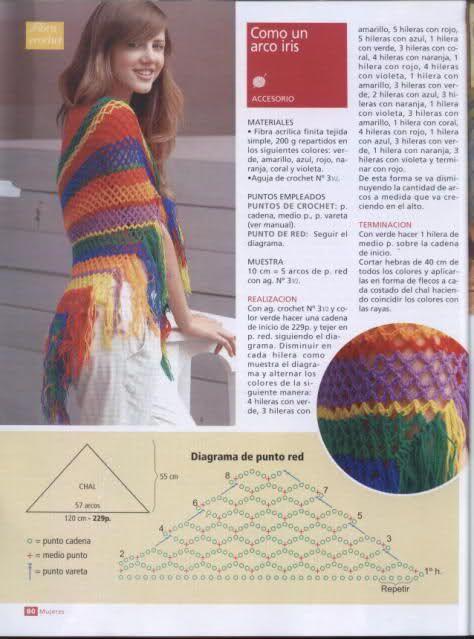 Patrones para Crochet: Chal de Punto de Red Patron | Ganchillo ...