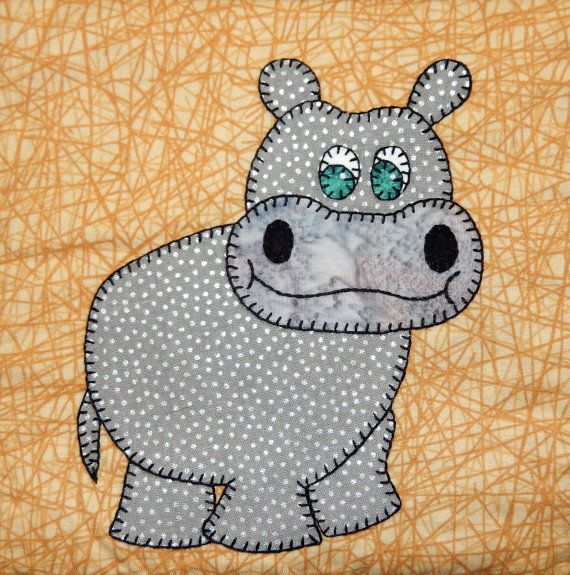 Hippo PDF applique pattern; zoo animal quilt pattern; African safari ...