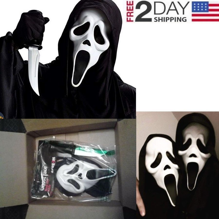 Scream Movie Ghost Face Mask halloween with Knife Scary