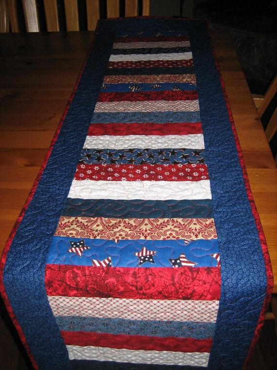 Red White And Blue Americana Quilted Table Runner Team