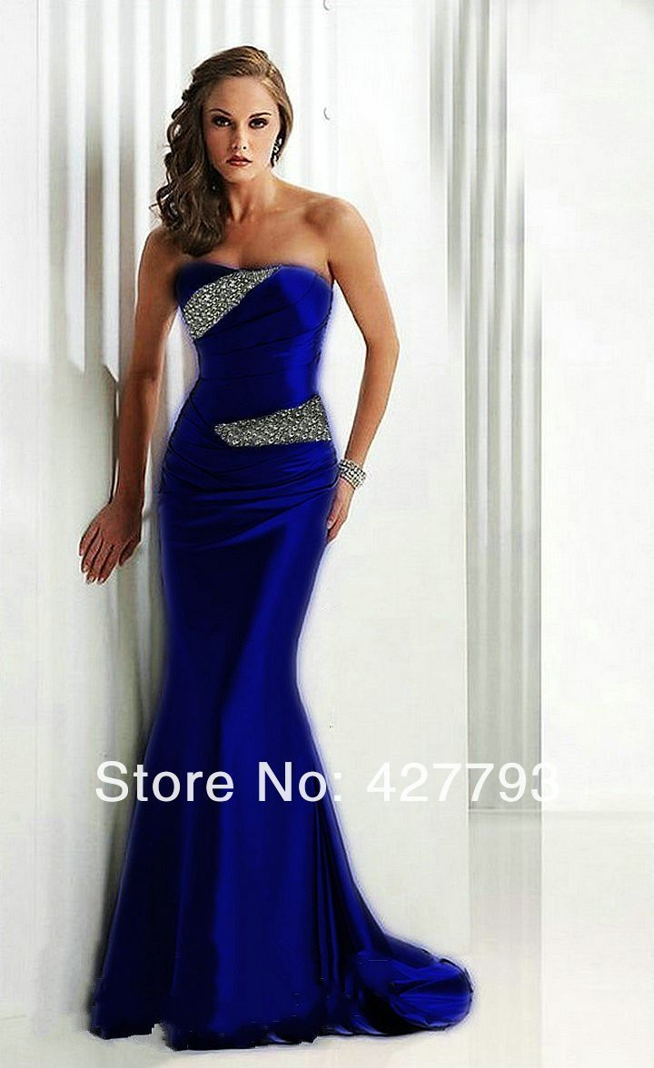 Royal blue and silver dresses mermaid strapless for Blue silver wedding dress