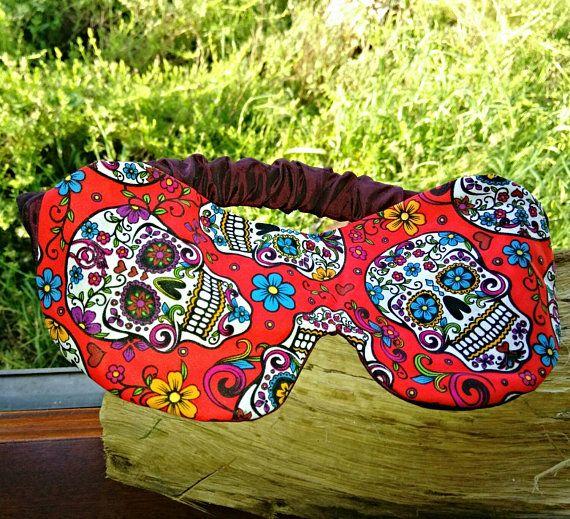 red sleep mask satin sleeping mask day of the dead sugar skull