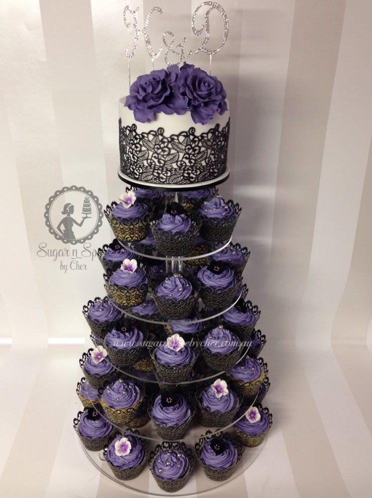 Wedding Cake Cupcake Tower In Purple Black Sugarnspicebycher