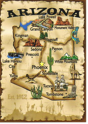 Map Of Arizona Landmarks.50 States Notebook See The Usa Then And Now Arizona Travel