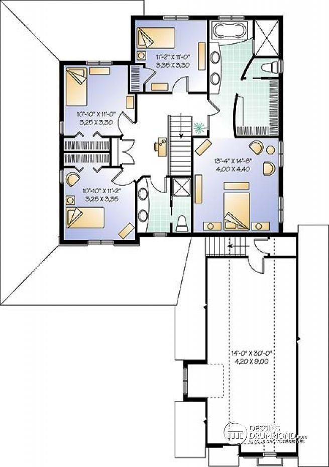 Plan de Étage Maison champêtre avec 4 à 5 chambres, garage double