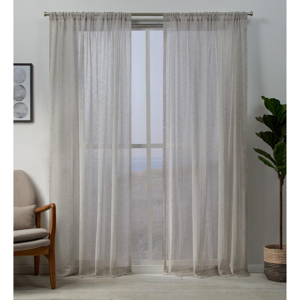 Exclusive Home Curtains Hemstitch 54 In W X 96 In L Sheer Rod
