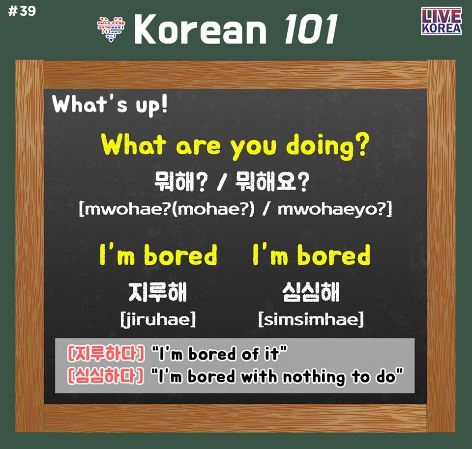 Korean 101 39 Ask Your Friend What They Are Doing Right Now Tell Them That You Are ̋¬ì‹¬í•´ Hehe What Are You Korean Language Learn Korean Im Bored