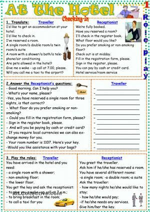 At The Hotel worksheet - Free ESL printable worksheets made by teachers