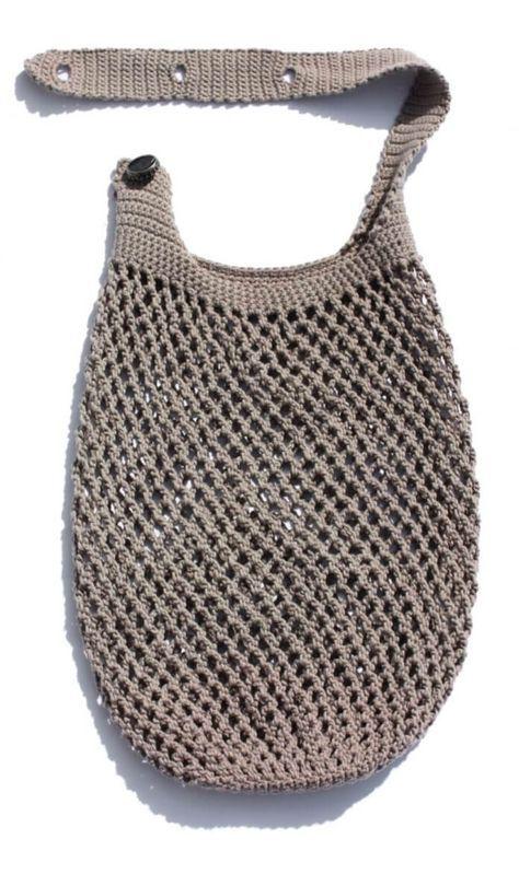 Red de compras con asa ajustable – punto y crochet  – Bolsa