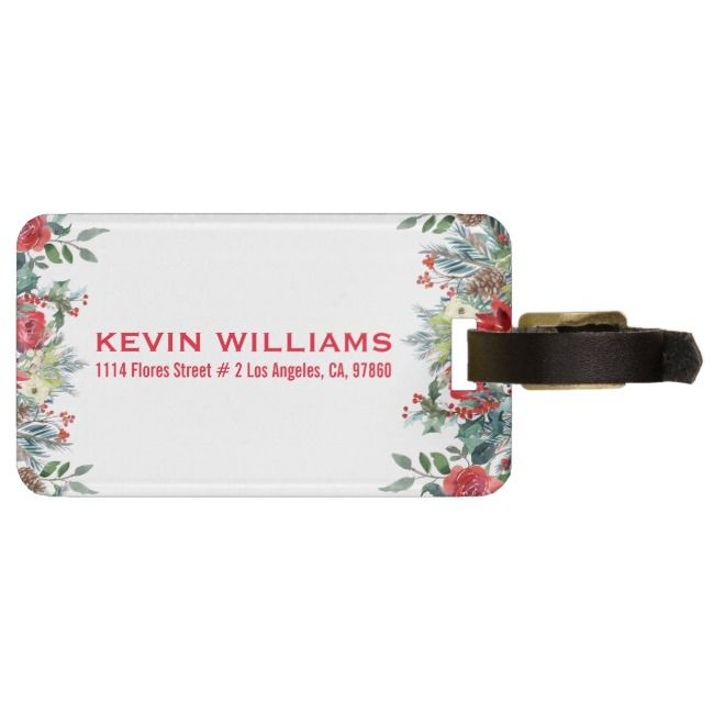 Christmas flowers border bag tag