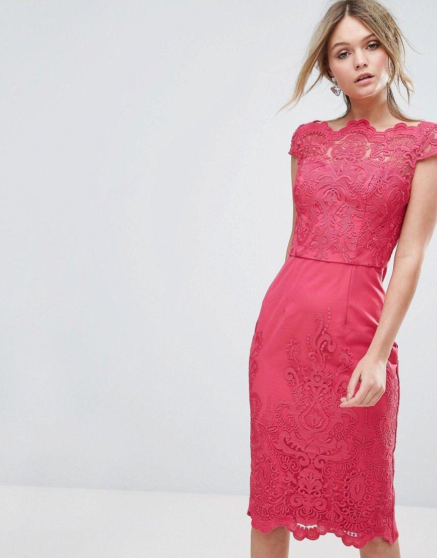 Lace dress pink  Chi Chi London Bardot Lace Pencil Dress  Pink  Fashion  Pinterest