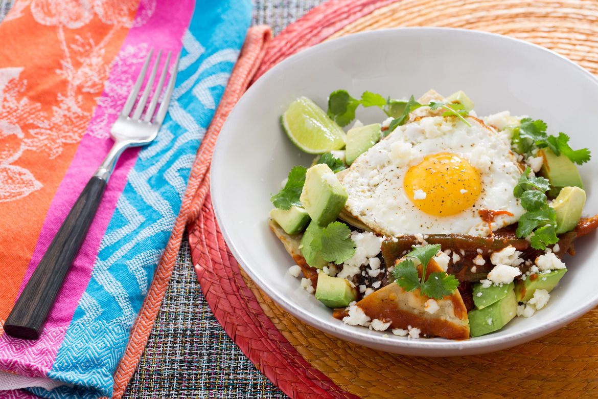 Roasted Poblano Chilaquiles with Sunny SideUp Eggs