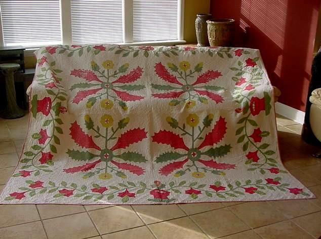 """Graphic Early 1850s Princess Feather Applique Quilt with Urn Border Large Size 