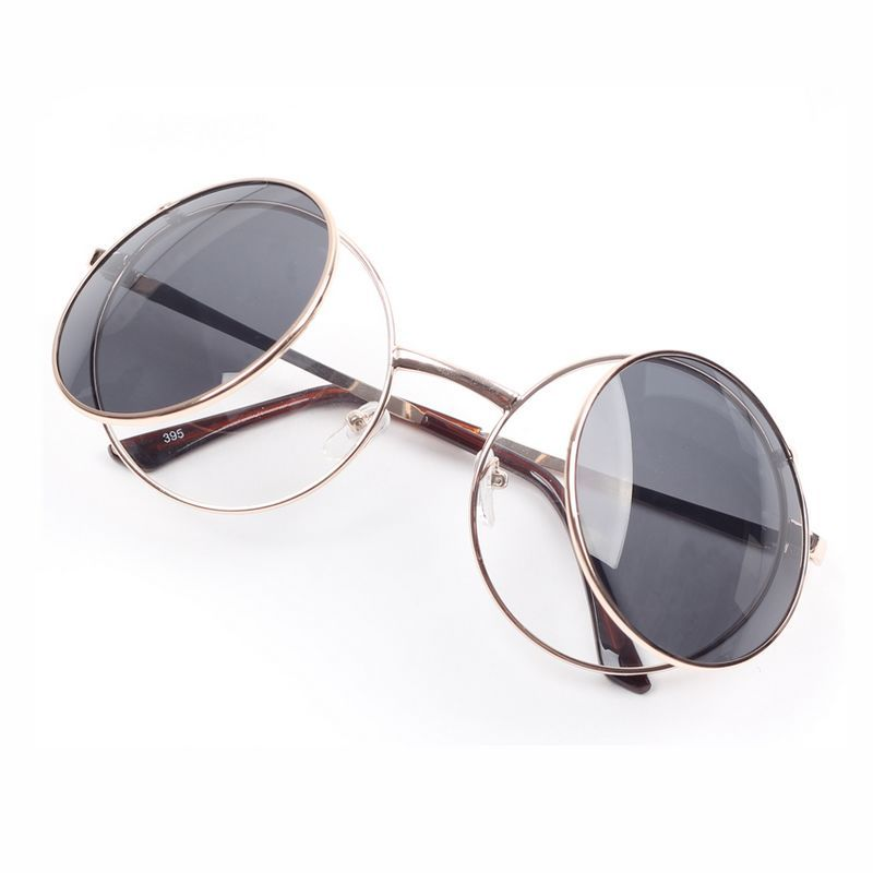 46ef9b43f5 Fashion Mouse Style Round Gold Metal Flip Up Sunglasses Gray
