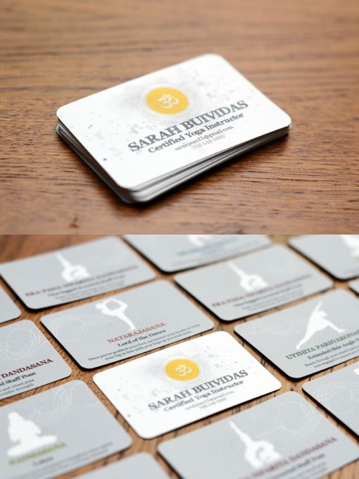 Yoga business cards there are 6 variations of the card each yoga business cards there are 6 variations of the card each with the same front and a different yoga pose on the back each pose includes the colourmoves