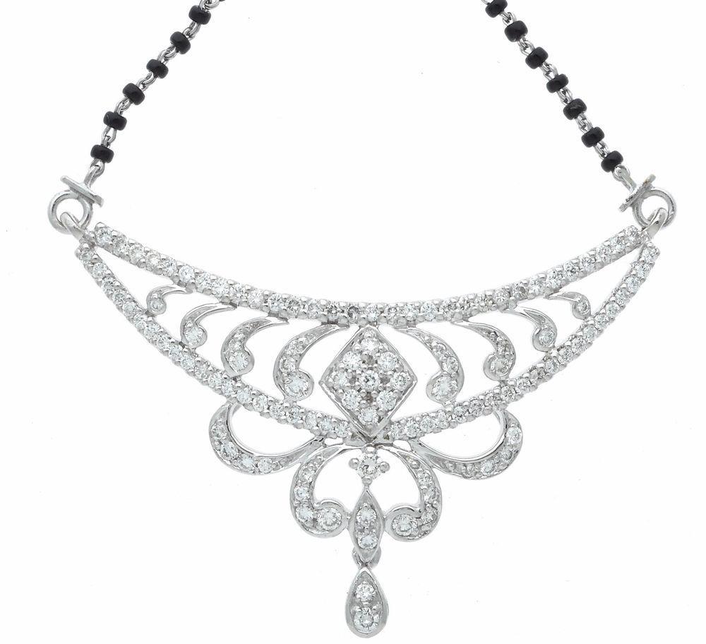 K white gold mangalsutra tanmaniya pendant necklace black bead