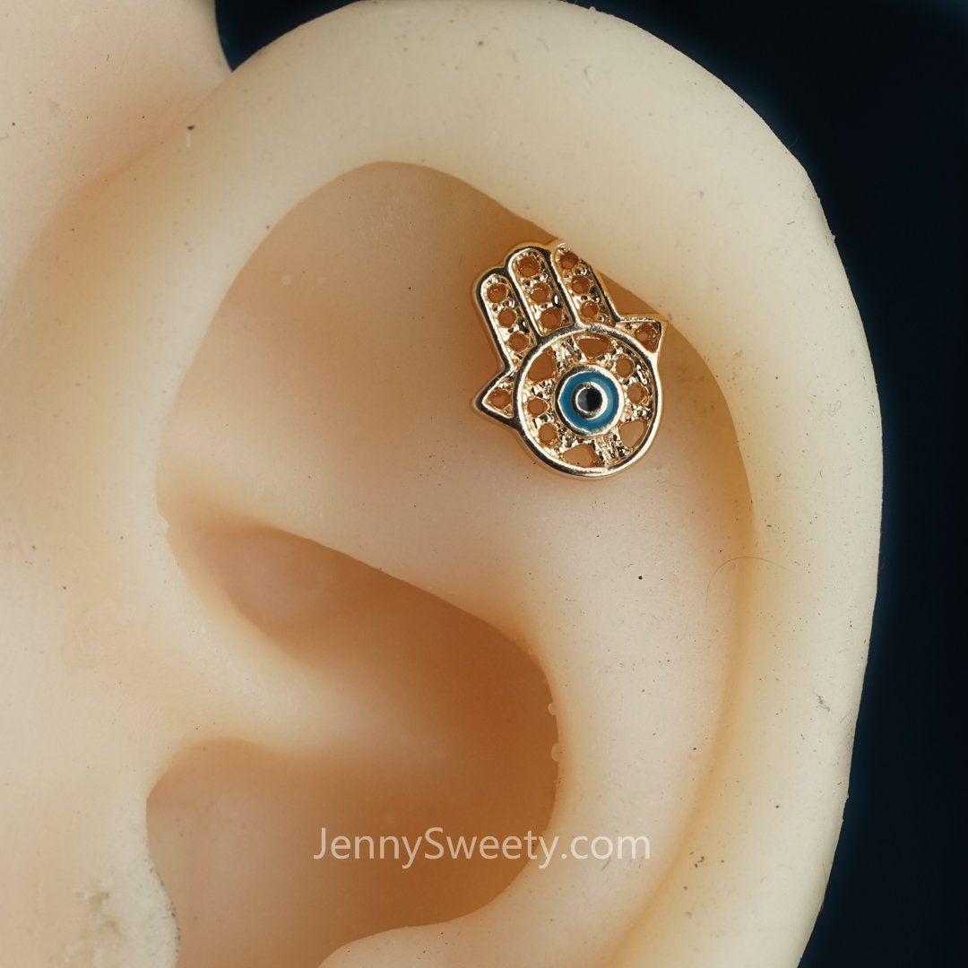 Fatimah Hand Cartilage earring 16g Tragus earring Helix earring Helix piercing Cartilage Tragus stud Cartilage piercing Conch piercing  #CartilagePiercing #TragusPiercing #NavelRing #PiercingAddict #BodyJewelry #BodyPiercing #BodyMods #PiercedandProud #CartilageEarring #Piercing