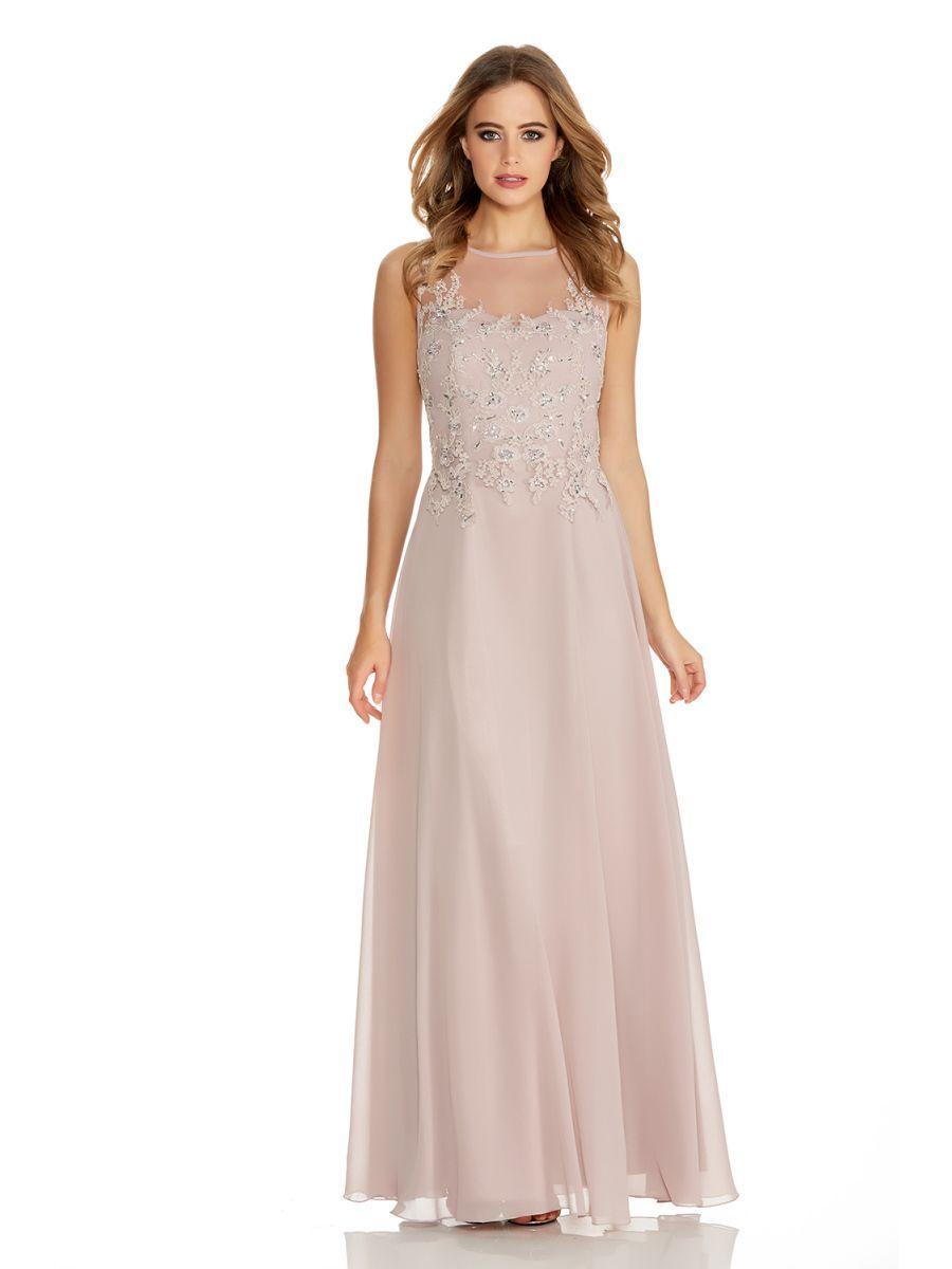Mocha Lace Chiffon Sequin Maxi Dress - Quiz Clothing | Bridesmaids ...