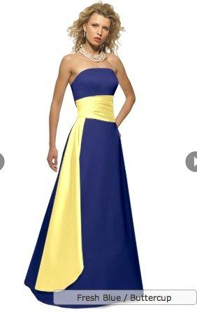 bright yellow bridesmaid dresses with royal blue sash - Google ...