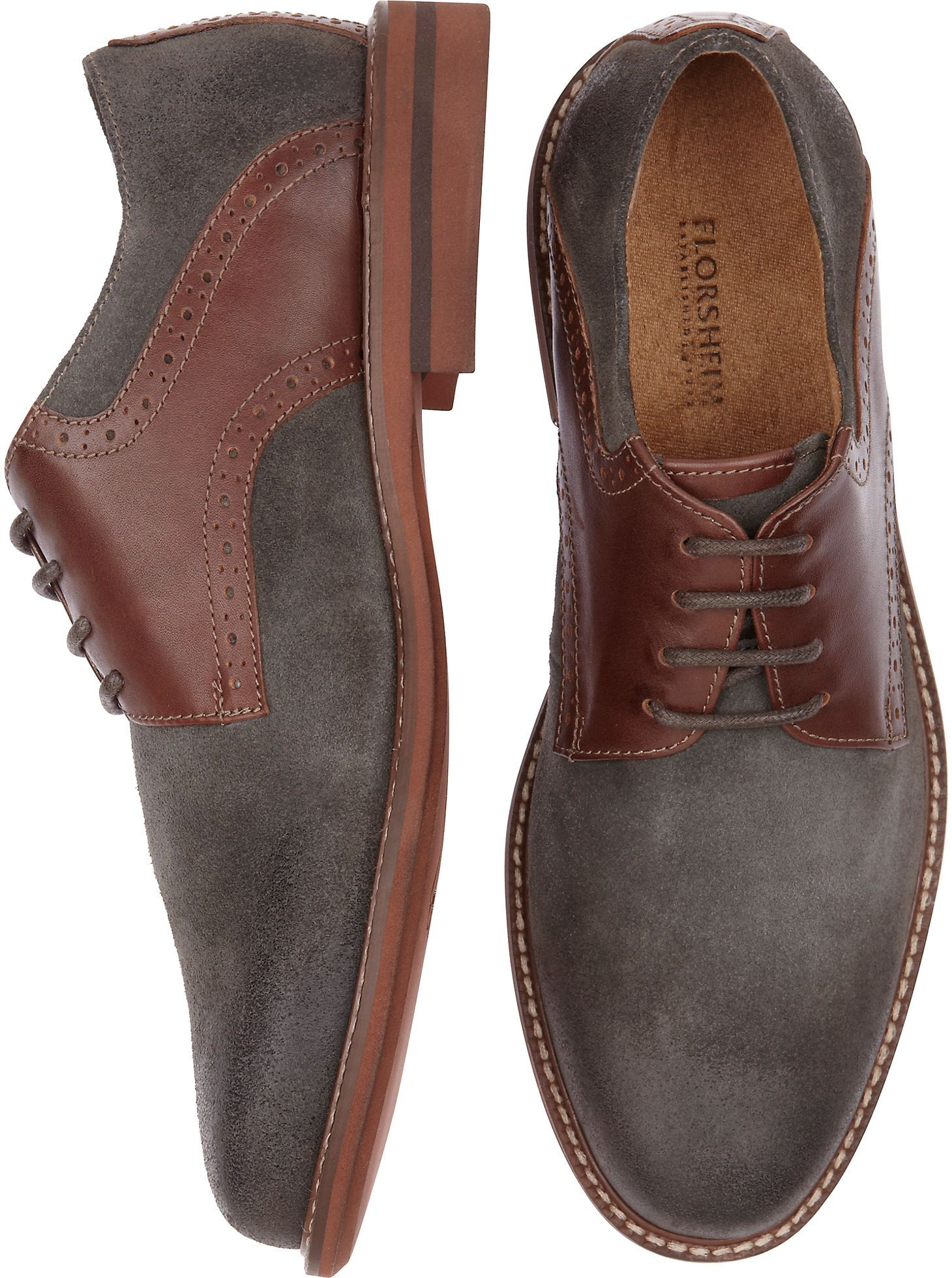 Shoes - Florsheim Gray and Brown Lace Up Dress Shoes - Men s Wearhouse eefbbba04ea