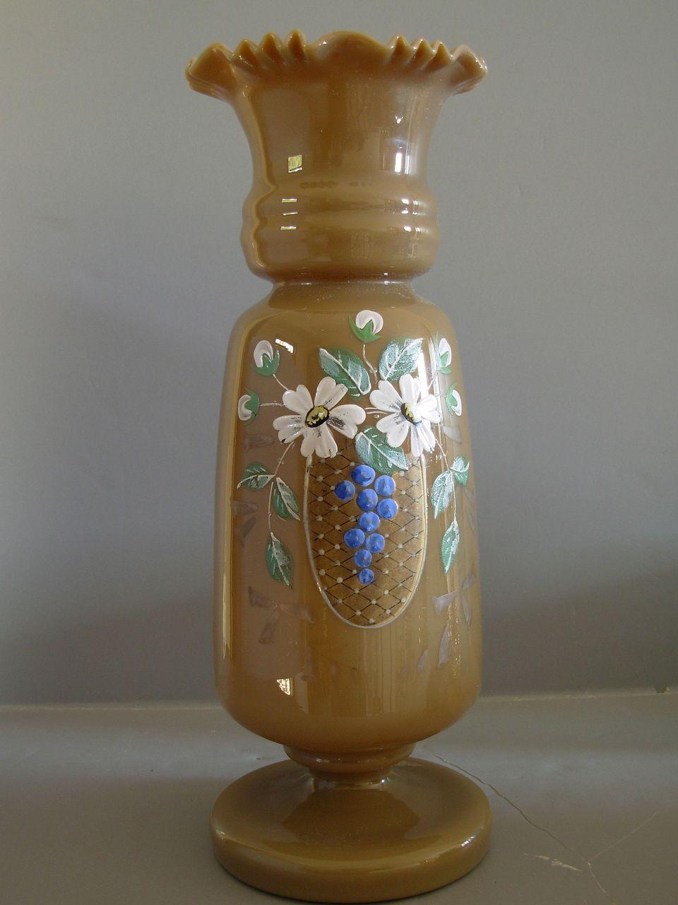 Antique Bristol Glass | Antique Victorian Bristol Art Glass Vase w ...