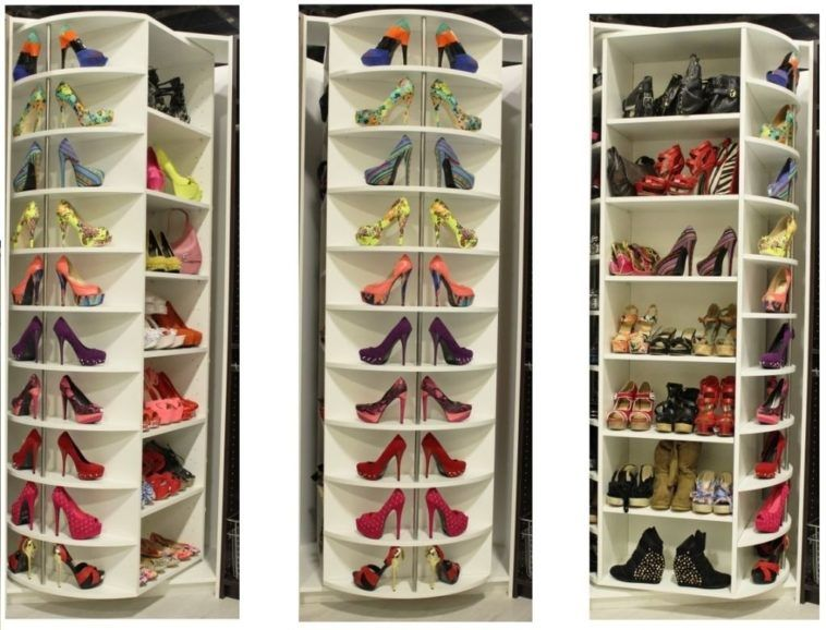 Picture Of Tall Corner Closet Rotating Shoe Rack Cabinet