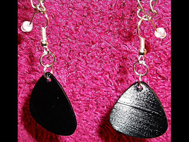 gpickearrings: make you a pair of recycled vinyl record guitar pick dangle earrings for $5, on fiverr.com