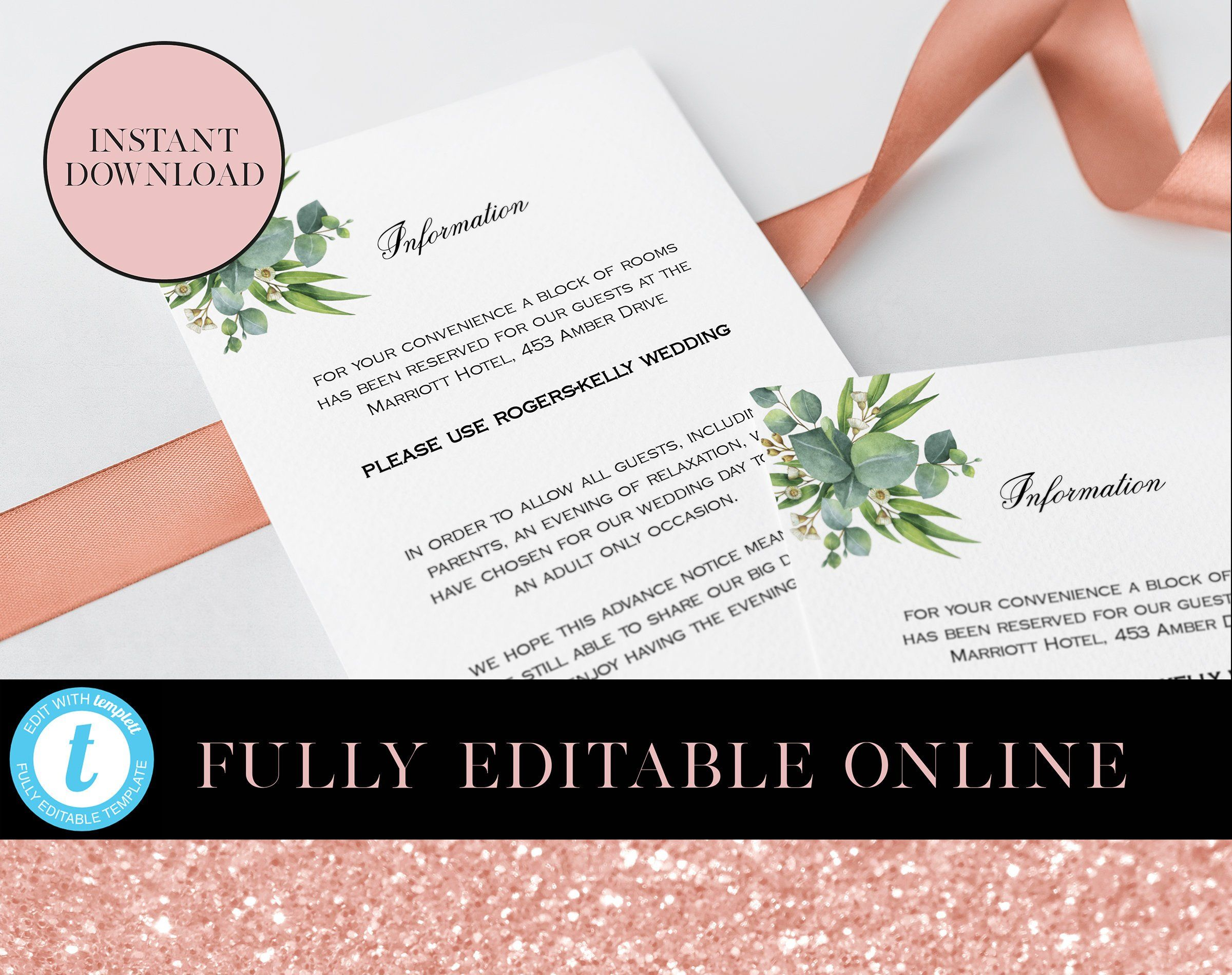 Greenery Printable Information Card 4x6 Cards