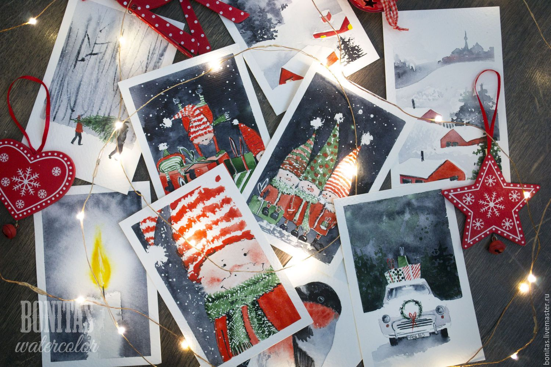 Стильные открытки на новый год акварелью, летием сестре